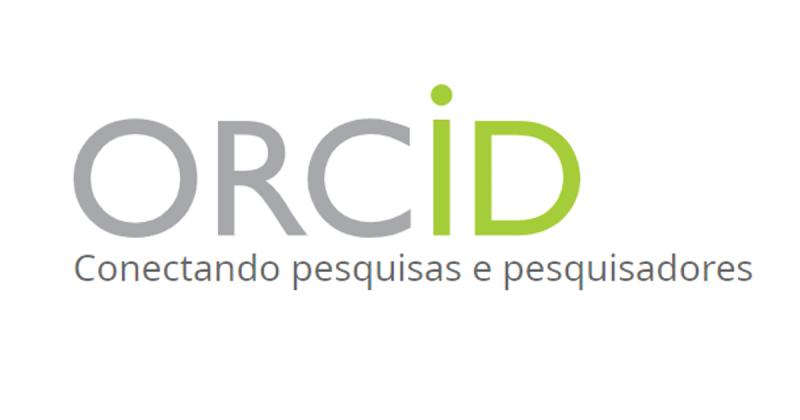 "Sigla ORCiD está escrita nas cores cinza e verde. São cinzas as 3 primeiras letras e verdes as duas últimas. Abaixo dela está escrito, na cor cinza, ""Conectando pesquisas e pesquisadores""."